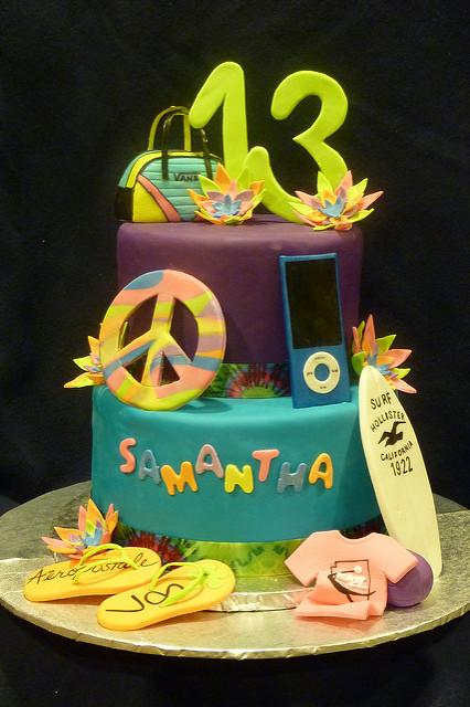 Fabulous 10 Neon Cakes For Teenage Girls Photo Teen Girl 13Th Birthday Funny Birthday Cards Online Kookostrdamsfinfo