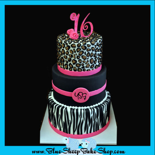 Black and Pink Leopard Print Cake