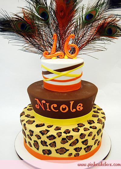 Cheetah Print Sweet 16 Birthday Cakes