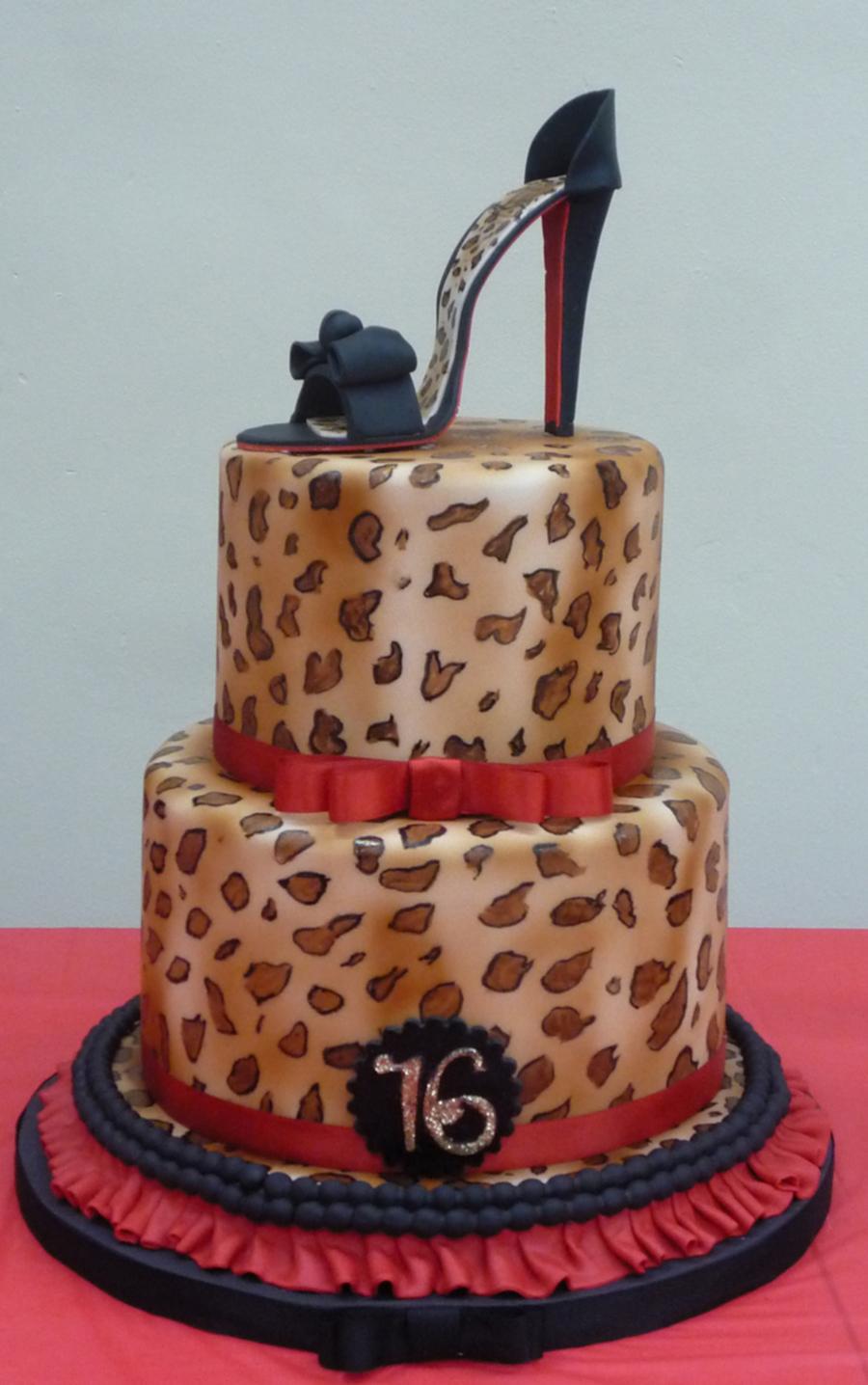 High Heel with Leopard Print Cake