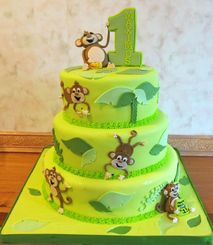 Magnificent 10 3 Layer Birthday Cakes For Girls Monkeys Photo Monkey 1St Personalised Birthday Cards Petedlily Jamesorg
