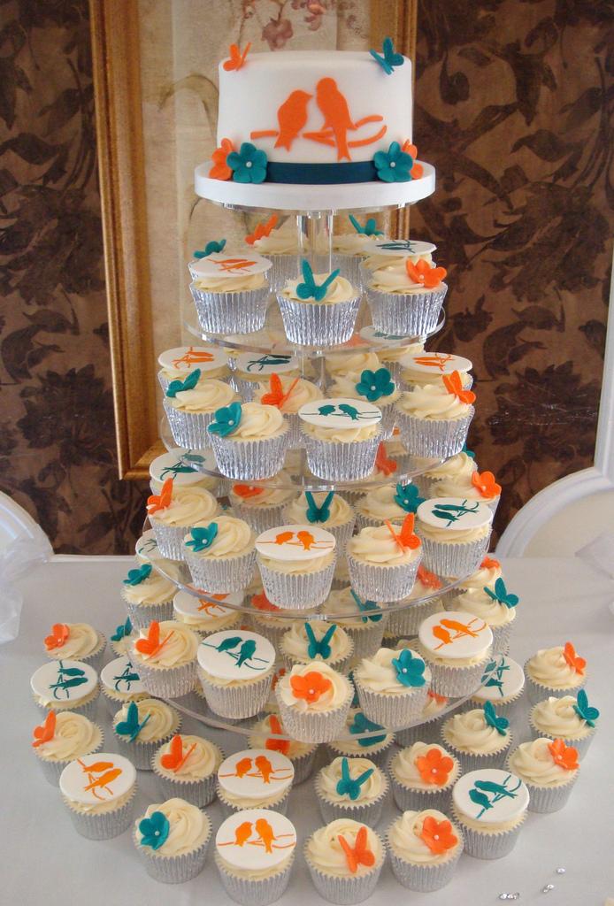 Orange And Teal Cupcake Wedding Cakes