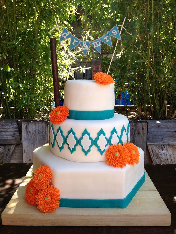 Orange And Teal Wedding Cake