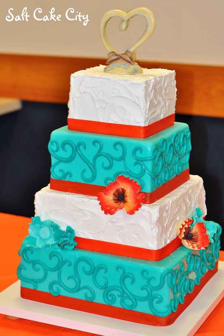 12 Orange And Teal Cupcake Wedding Cakes Photo