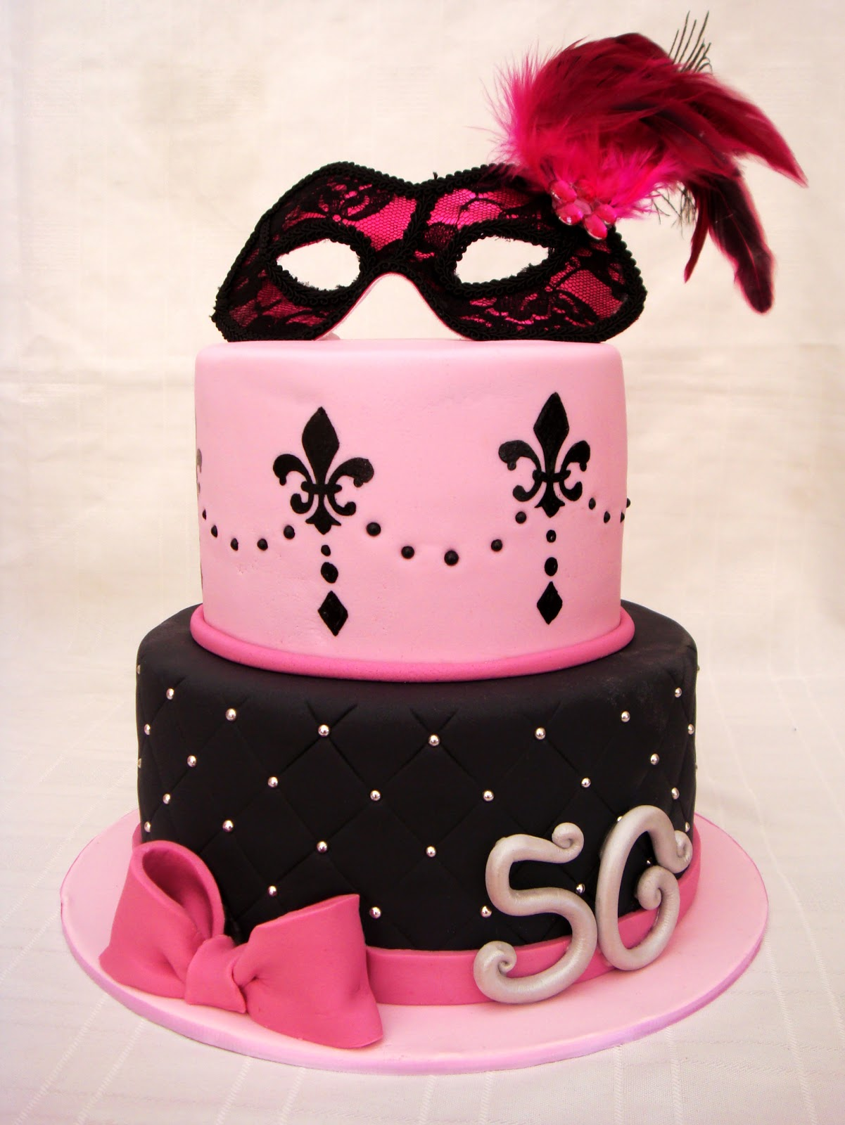 Pink and Black Masquerade Cake