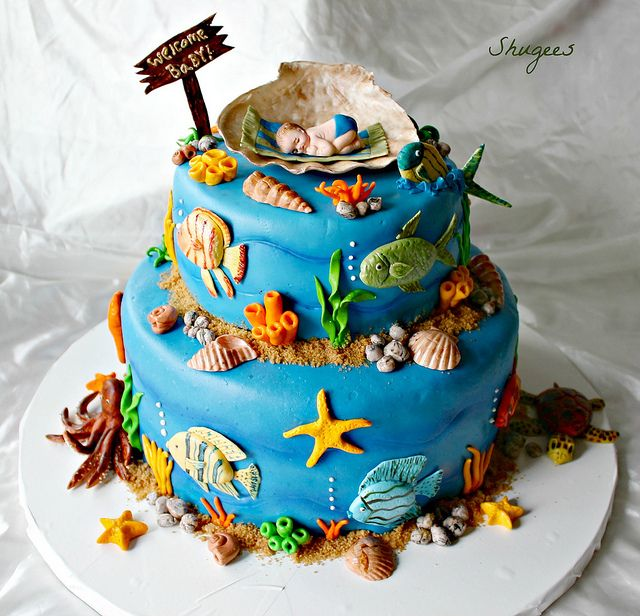 Under the Sea Theme Baby Shower Cake