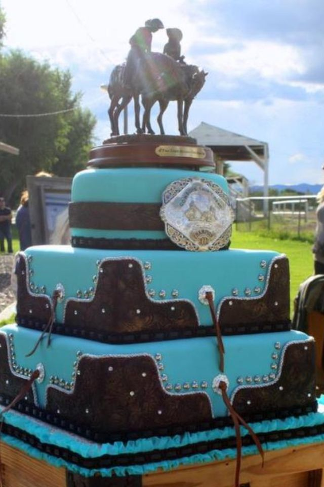 11 Turquoise And Brown Western Wedding Cakes Photo - Teal and Brown ...