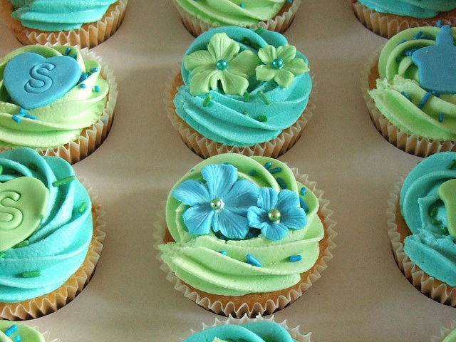 Blue and Green Birthday Cupcakes