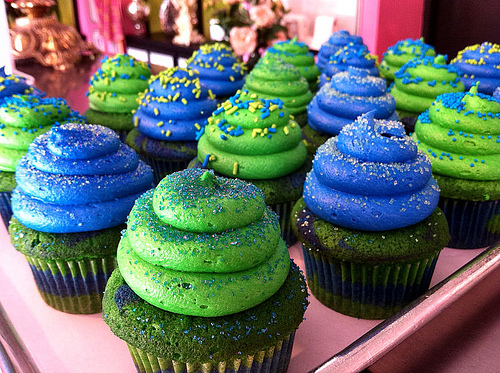 Blue and Green Cupcakes