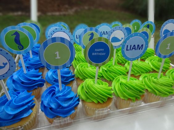 Blue and Lime Green Birthday Cakes
