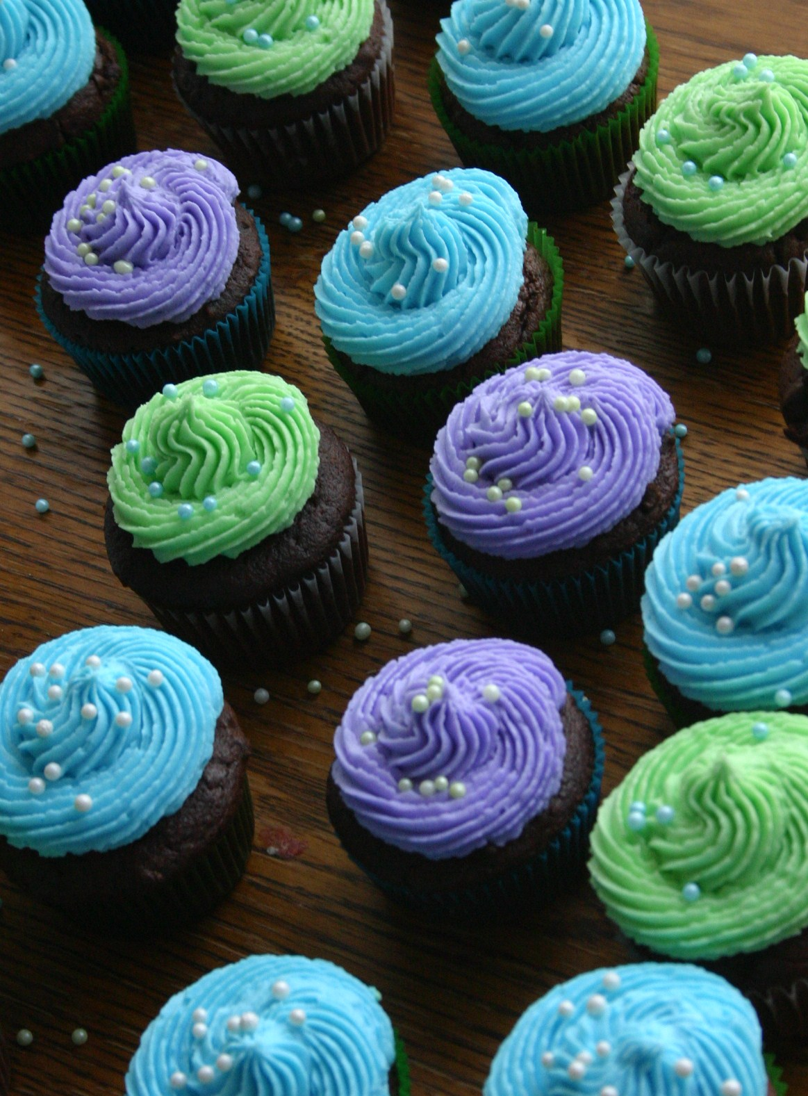 Blue Green and Purple Cupcakes