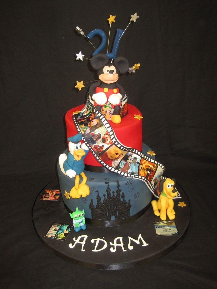 Tremendous 6 Disney 18Th Birthday Cakes Photo Disney Themed Birthday Cake Funny Birthday Cards Online Inifodamsfinfo