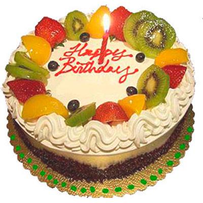 Happy Birthday Cake with Fruit