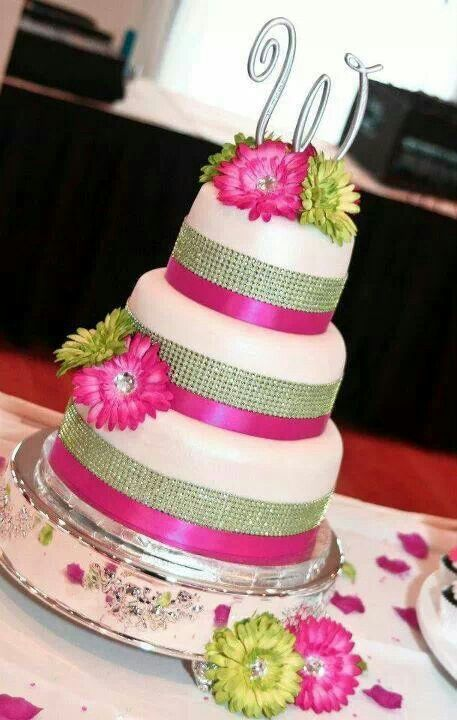 12 Hot Pink And Lime Green Wedding Cakes Photo Pink And Lime Green