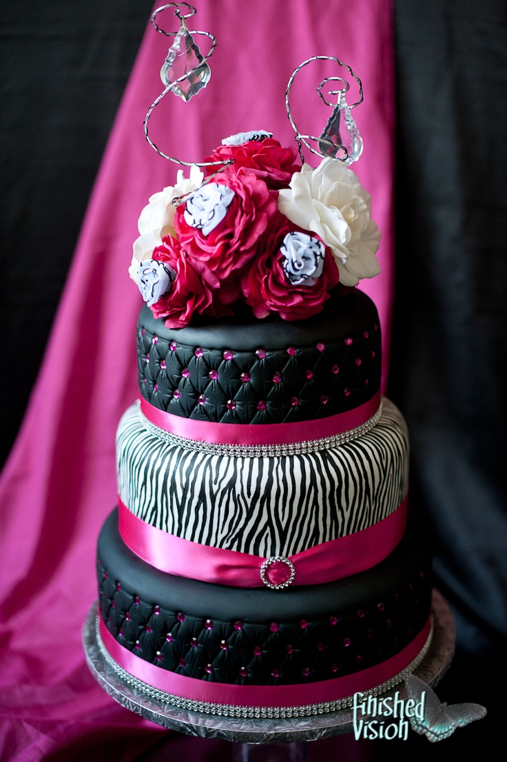 Hot Pink And Zebra Wedding Cake