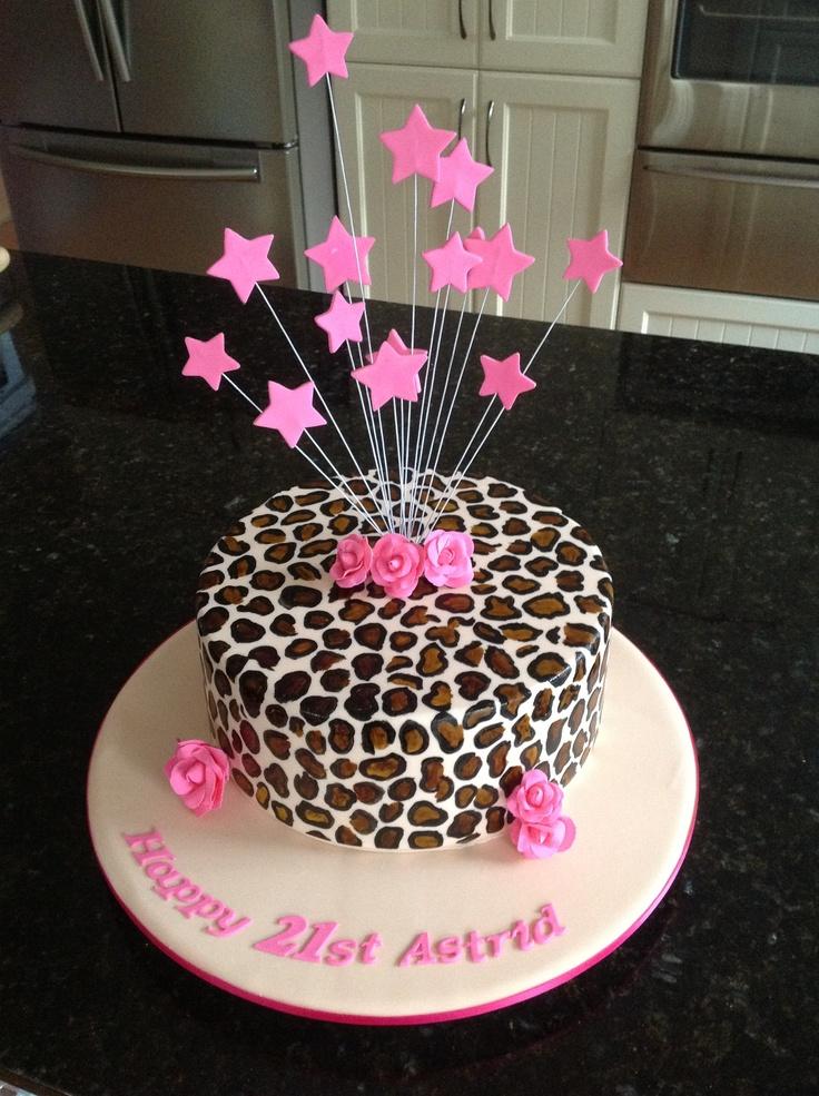 Leopard Print 21st Birthday Cake