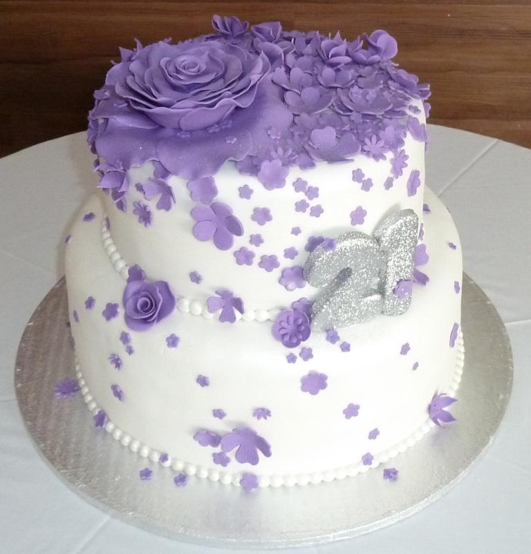 7 Purple Tiered Birthday Cakes Photo Purple And Teal Birthday Cake