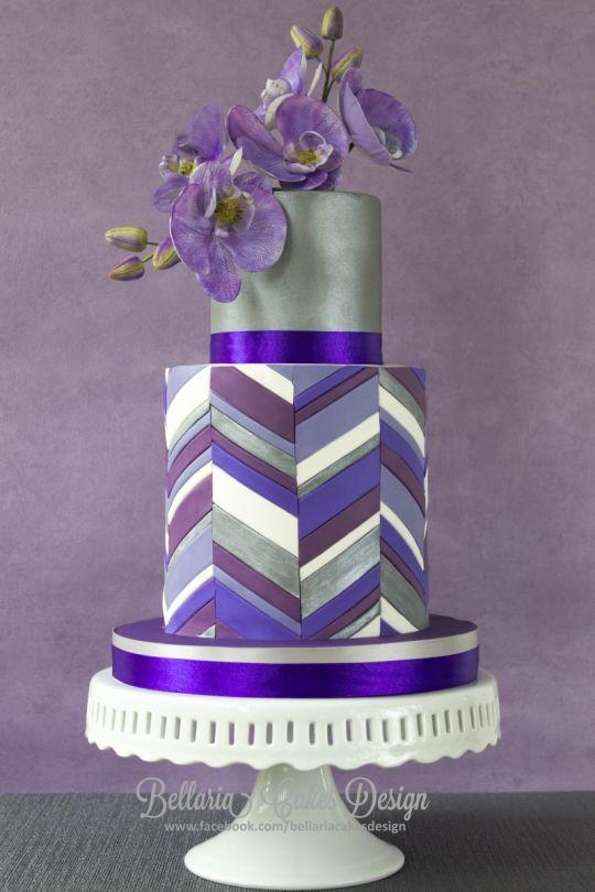 9 Photos of Purple Chevron Square Cakes