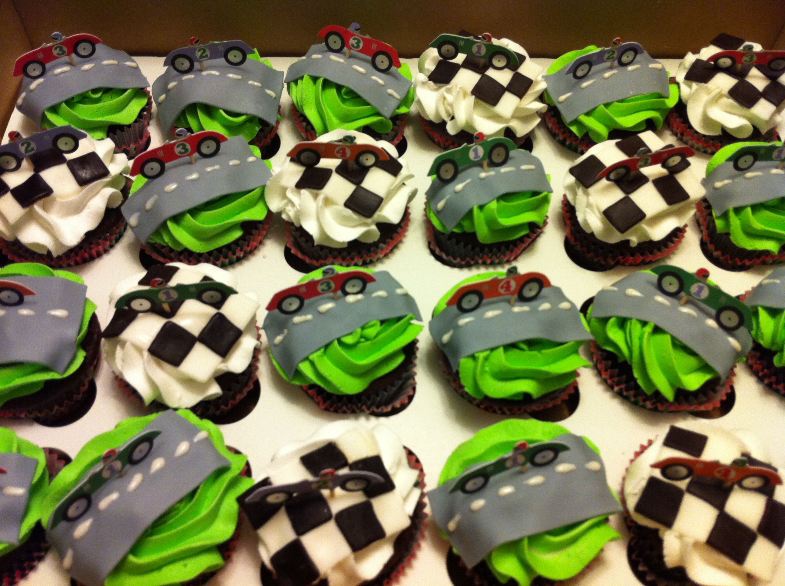 7 Red Race Car Cupcakes Photo Race Car Cupcake Ideas Race Car Cupcake Birthday Cake And Race Car Themed Birthday Party Snackncake