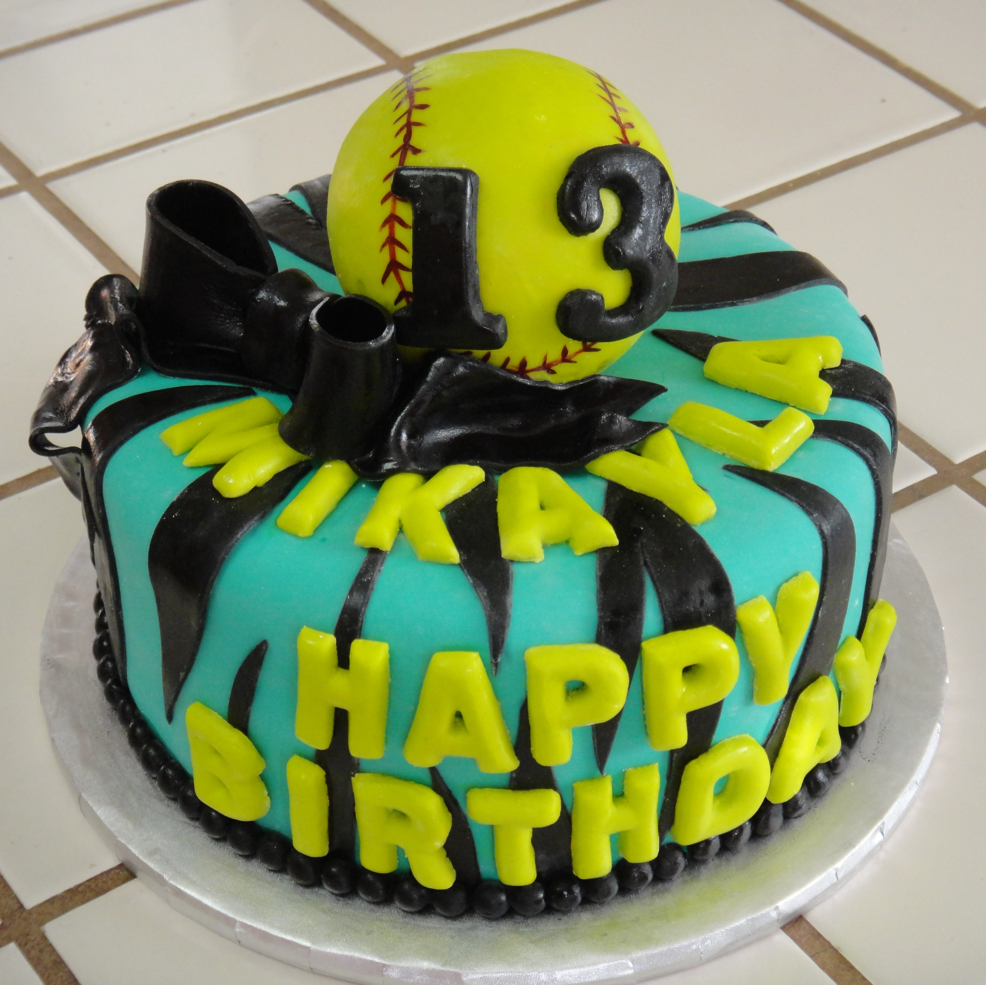12 Softball Themed Cakes For Girls Photo Softball Birthday Cake