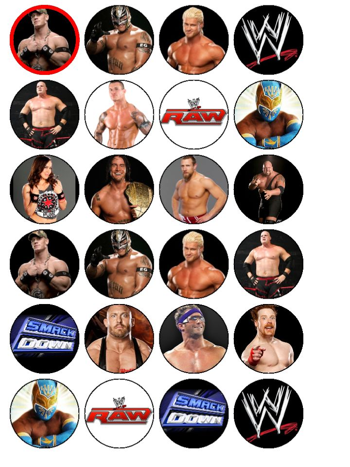 WWE Wrestling Cupcake Toppers