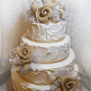 Burlap And Lace Wedding Cake Topper