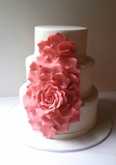 Cascading Rose Petals Wedding Cake