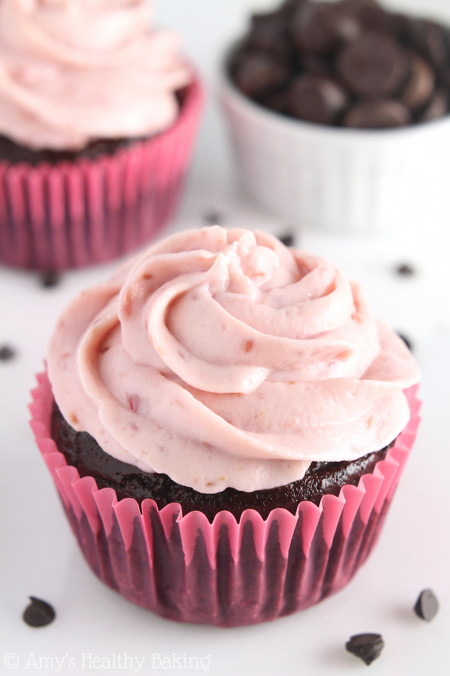 Dark Chocolate Cupcakes with Raspberry Frosting