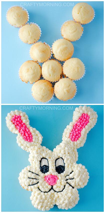 Easter Bunny Pull Apart Cupcake Cake