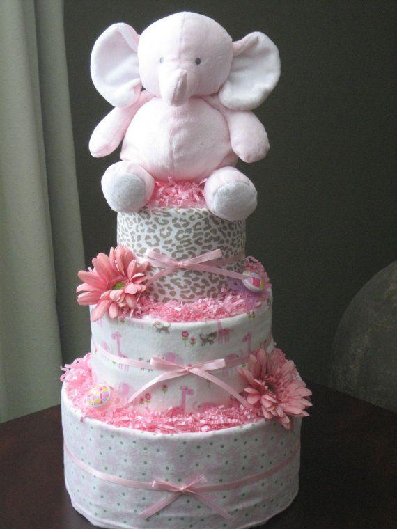 12 Simple Elephant Baby Girl Diaper Cakes Photo Elephant Baby