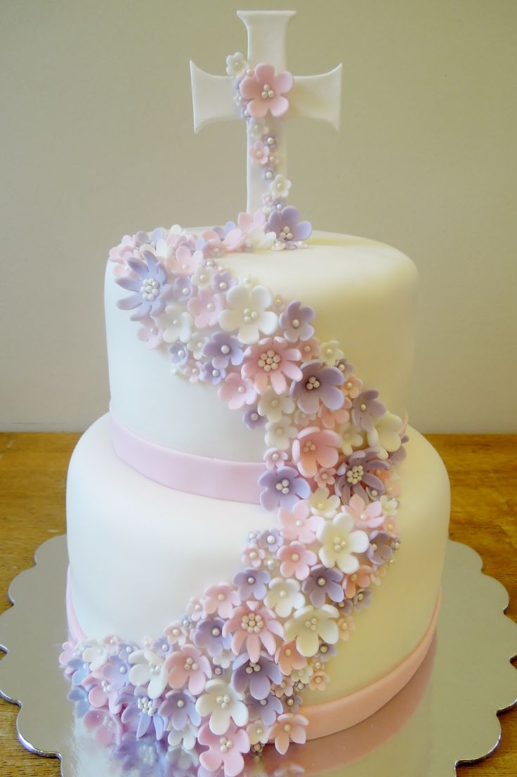 Flower First Communion Cakes for Girls