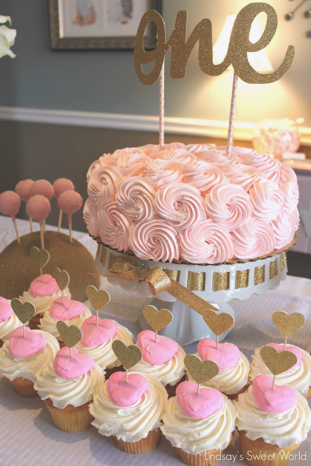 Gold And Pink 1st Birthday Party Ideas