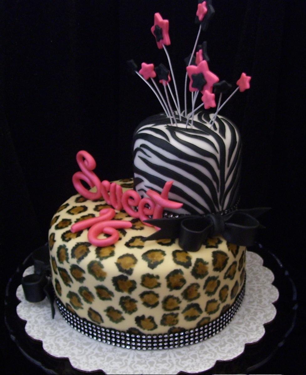 Leopard Print Sweet 16 Birthday Cake
