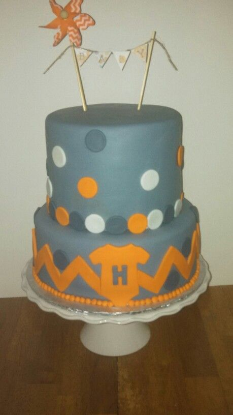 Orange and Grey Baby Shower Cake