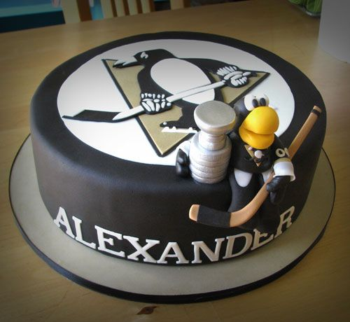 Incredible 10 Penguin Hockey Cakes Photo Penguins Hockey Birthday Cakes Funny Birthday Cards Online Alyptdamsfinfo