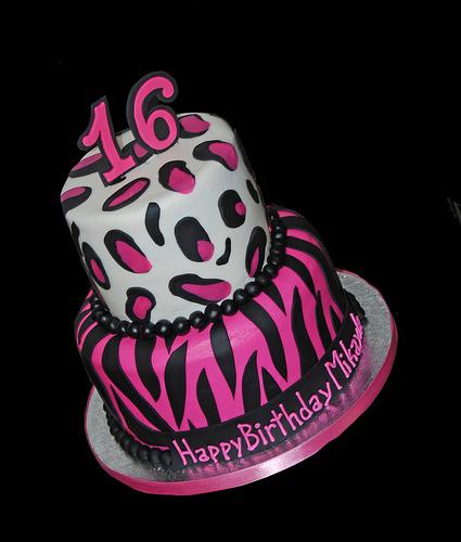 Pink and Black Zebra Print Cake