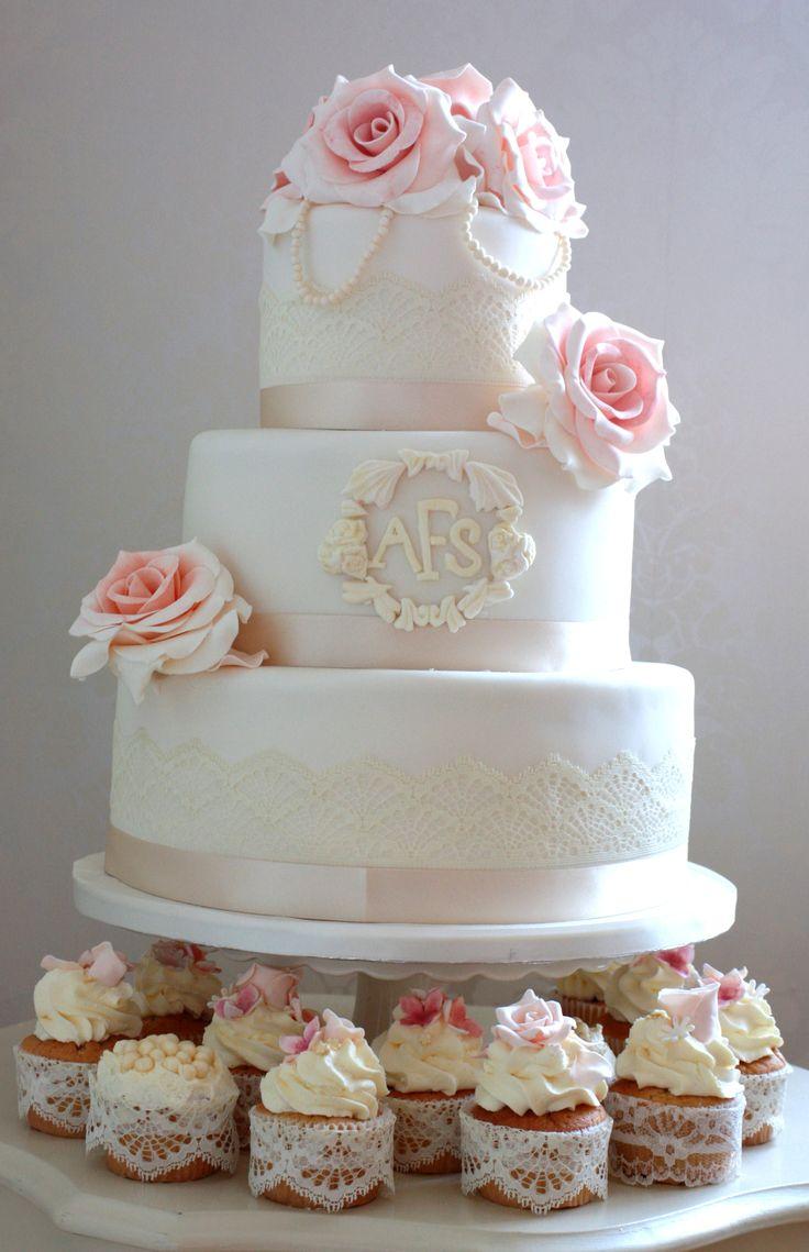Pink Rose And Pearl Wedding Cake