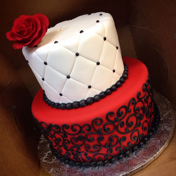 Red White and Black Birthday Cake