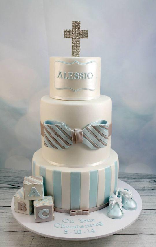 7 Photos of Blue Baptism Cakes For Boys