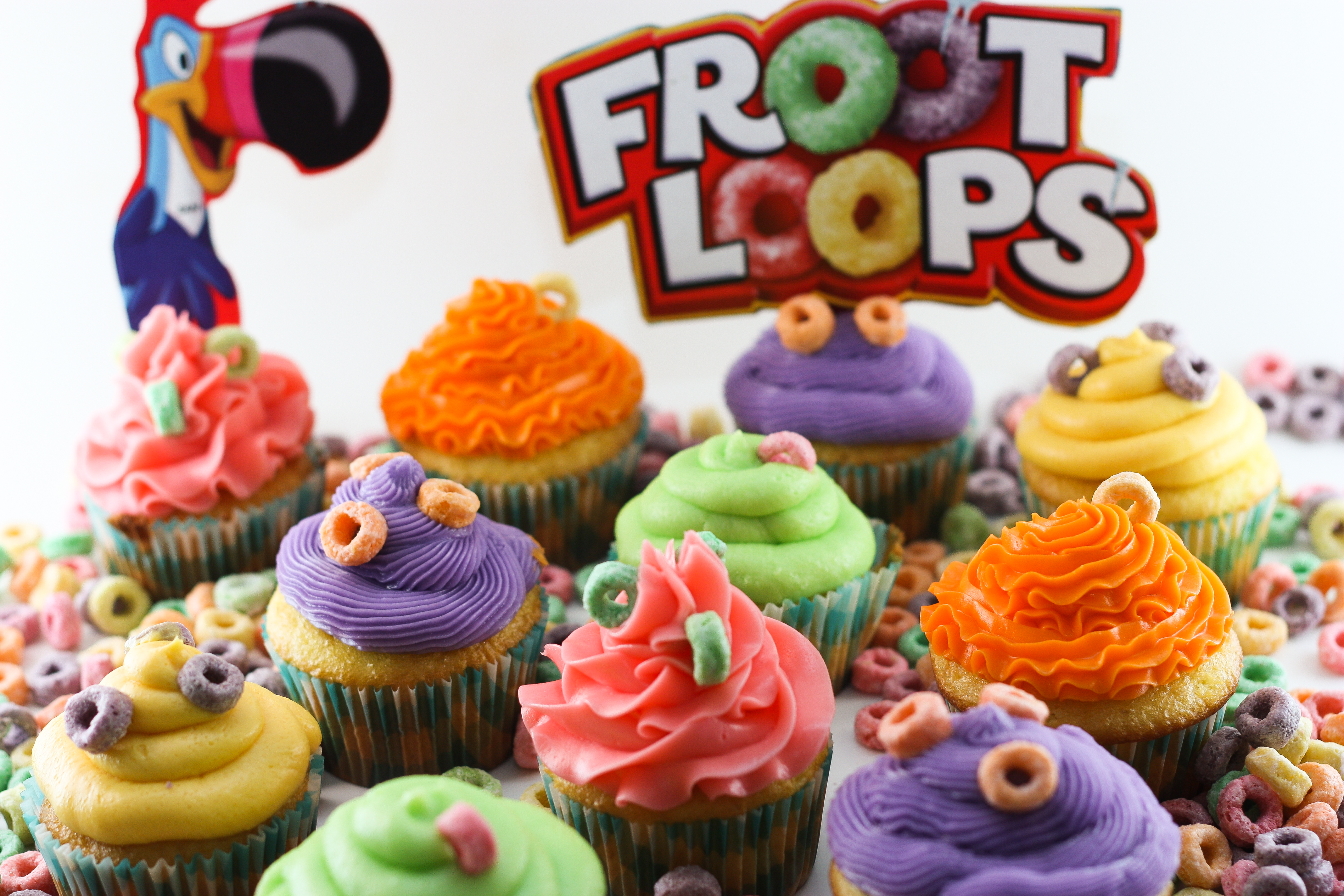 Fruit Loop Cupcakes