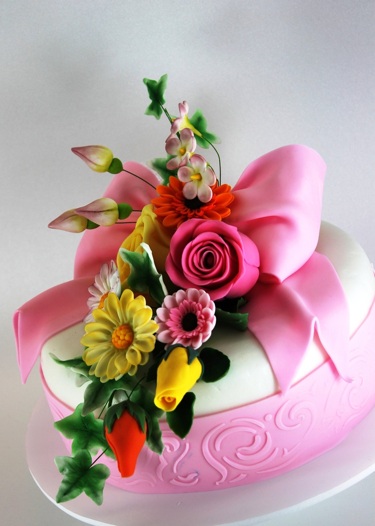 Happy Birthday Cake And Flowers