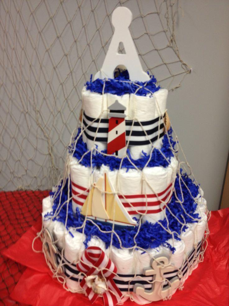 11 Photos of Nautical Themed Boy Diaper Cakes