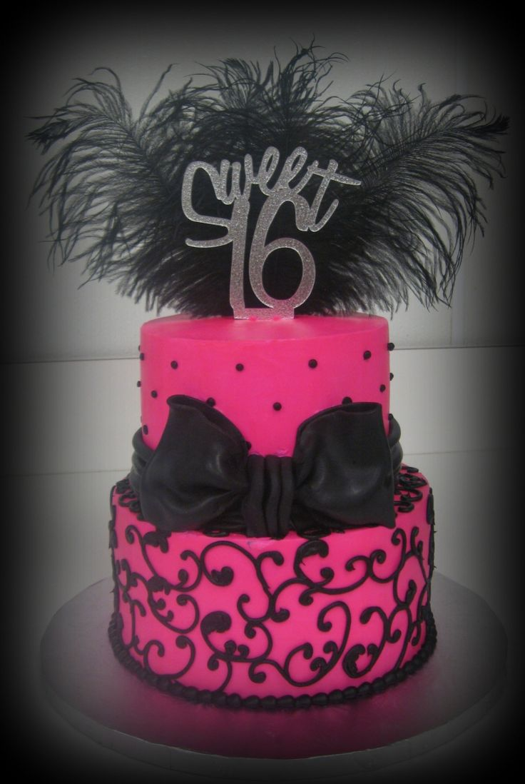 6 Hot Pink And Black Sweet 16 Cakes Photo Pink And Black Sweet 16