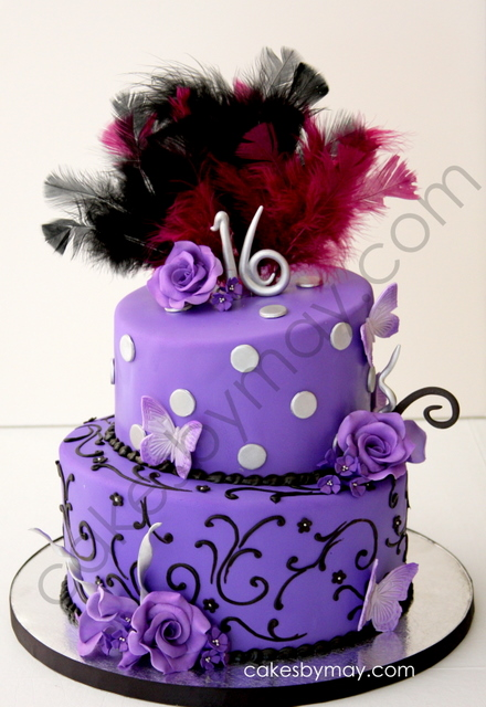 11 Photos of Sweet Sixteen Cakes Purple And Black