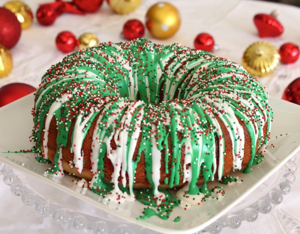 Rainbow Christmas Wreath Cake
