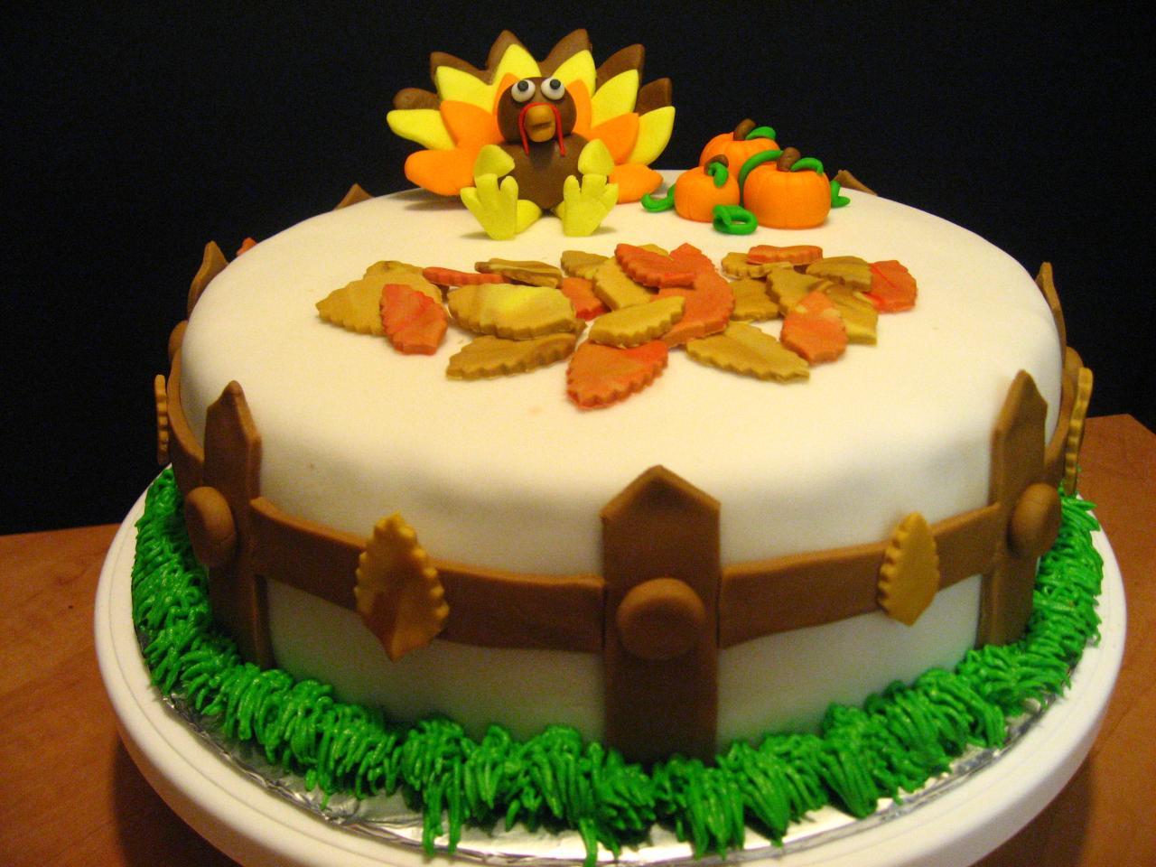 9 Photos of Thanksgiving Fondant Cakes Ideas