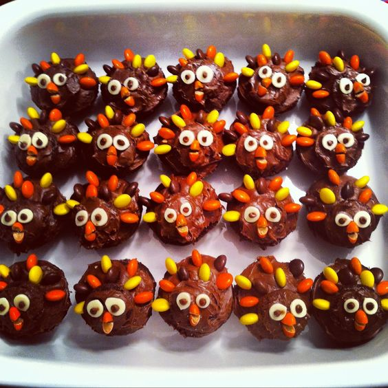 Turkey Cupcakes with Reese's Pieces