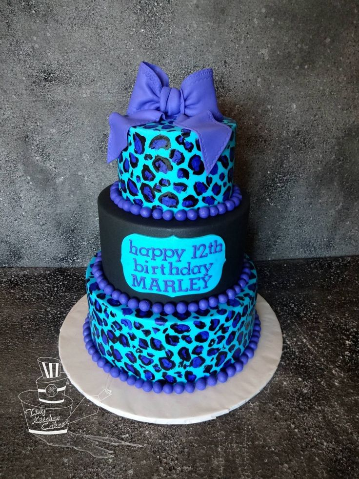 Turquoise and Pink Cheetah Birthday Cake