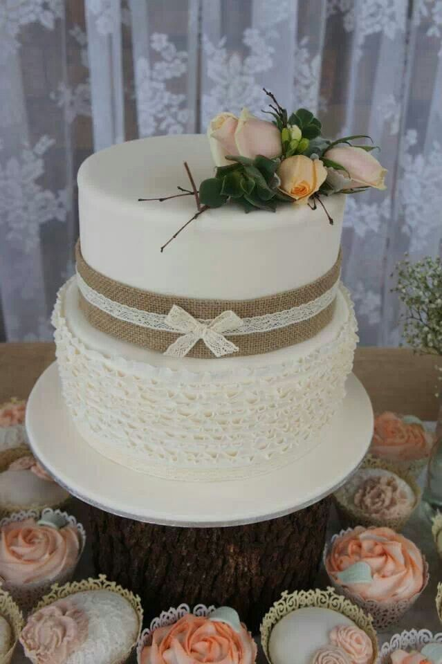 Two Tier Rustic Wedding Shower Cake