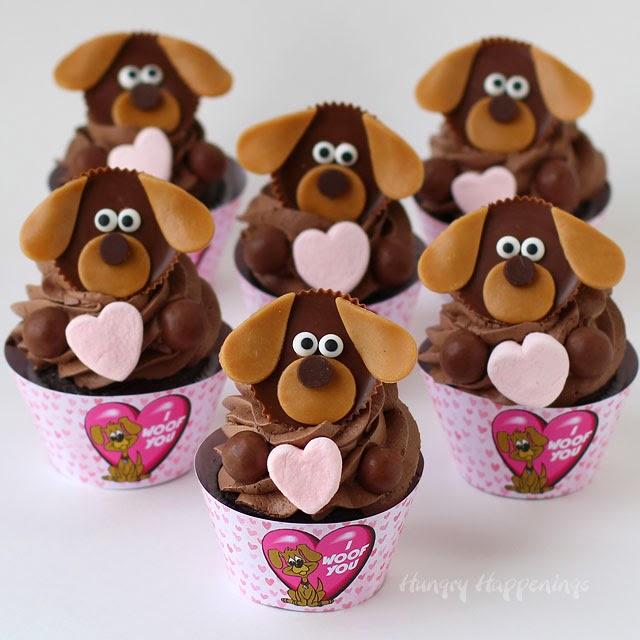 Valentine Puppy Dog Cupcakes